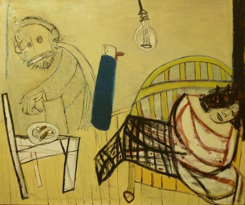 Peter Herrmann, Sonate fuer Cadillac, eine Altstimme und ein Briquet, 1992, Öl auf Leinwand, 100 x 120 cm