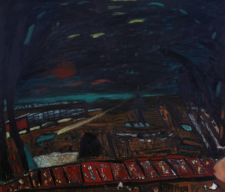 Peter Herrmann, Transit, 1989, Öl auf Leinwand, 175 x 205 cm
