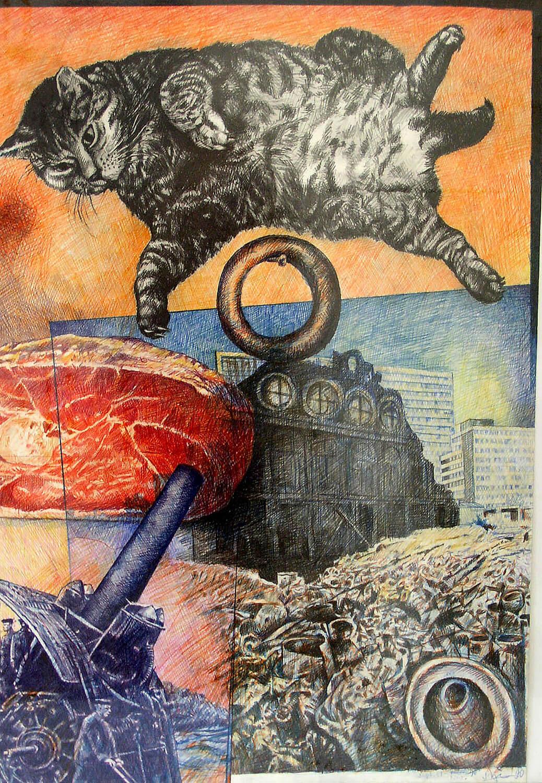 Peter Sorge, Iwan in the Sky, 1989, Blei- und Farbstift auf Papier, 73 x 51 cm