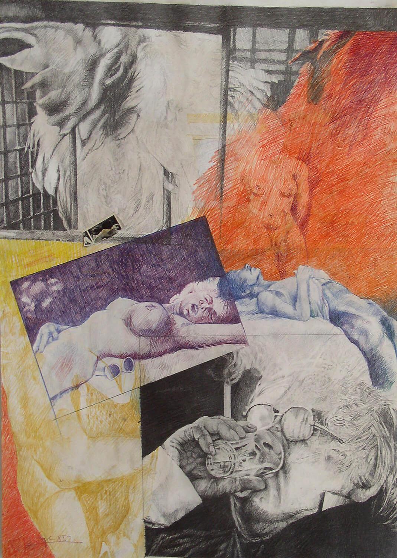 Peter Sorge, Kollege, 1985, Blei- und Farbstift auf Papier, 72 x 51 cm