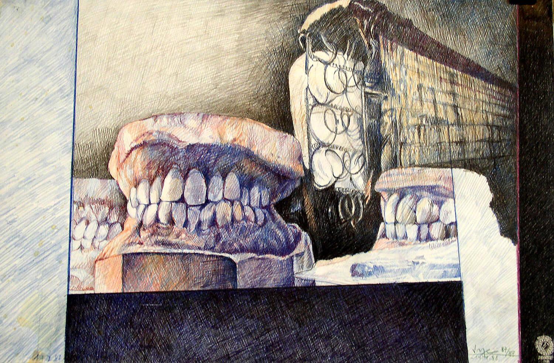 Peter Sorge, Zahnstilleben, 1988, Farbstift auf Karton, 40 x 43 cm