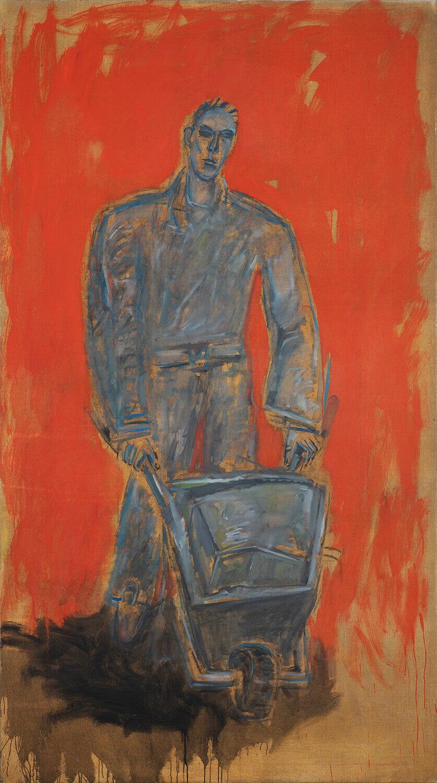 Ralf Kerbach, Abbrucharbeiter, 2020, Öl auf Leinwand, 250 x 140 cm