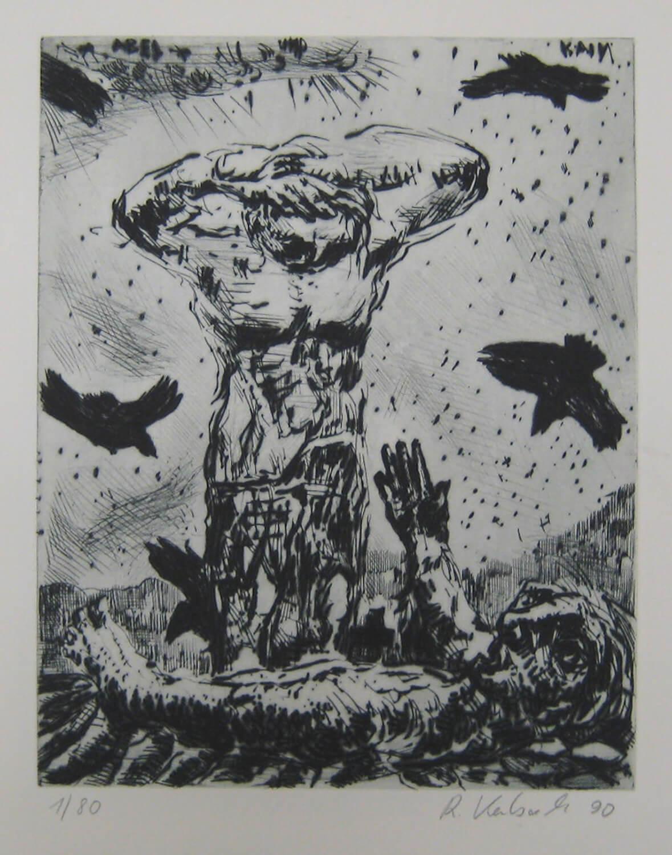 Ralf Kerbach, Kain und Abel, 1990, Radierung, Auflage: 80, Motiv: 22,5 x 17,8 cm, Blatt: 45 x 34 cm