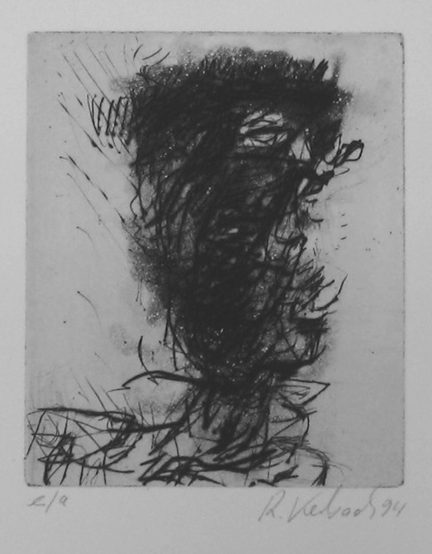 Ralf Kerbach, Auslöschung (aus den Novemberblättern), 1994, Radierung, e. a., Motiv: 11 x 9 cm, Blatt: 33,9 x 27,3 cm