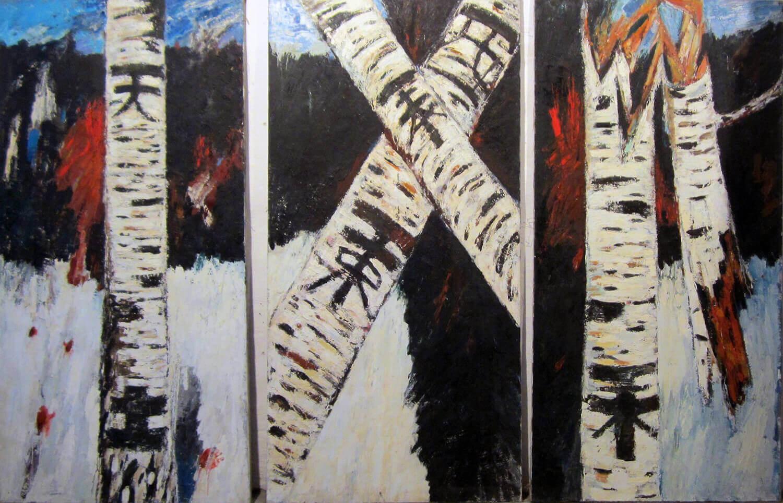 Ralf Kerbach, Birkenkreuz, 1984, Öl auf Leinwand, 175 x 255 cm