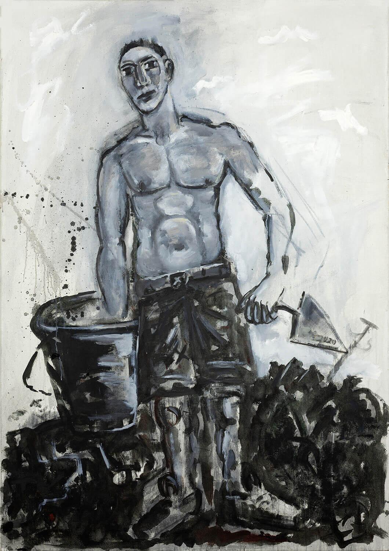 Ralf Kerbach, Freier Maurer, 2019, Öl auf Leinwand, 170 x 120 cm