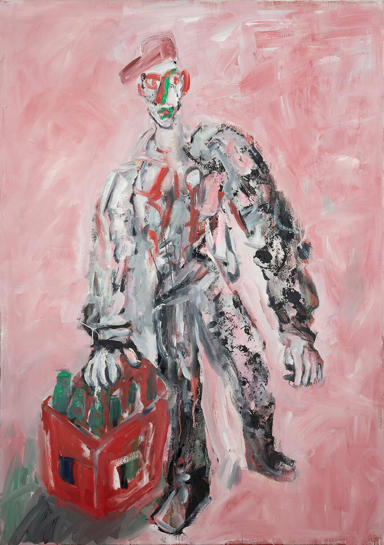 Ralf Kerbach, Gestalt mit Bierkasten, 2020, Öl auf Leinwand, 170 x 120 cm