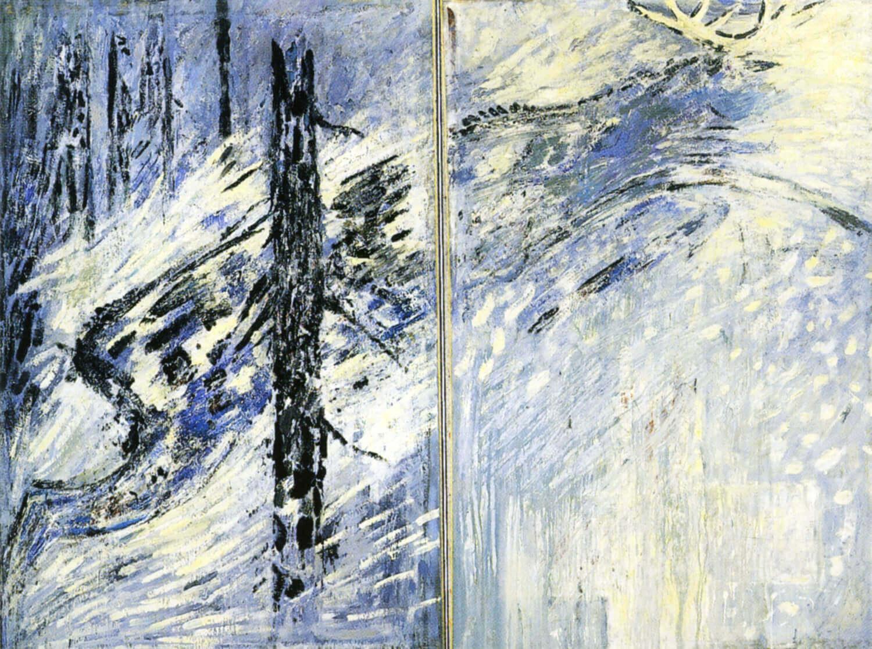 Ralf Kerbach, Hirschsprung, 1986, Öl auf Leinwand, 270 x 350 cm