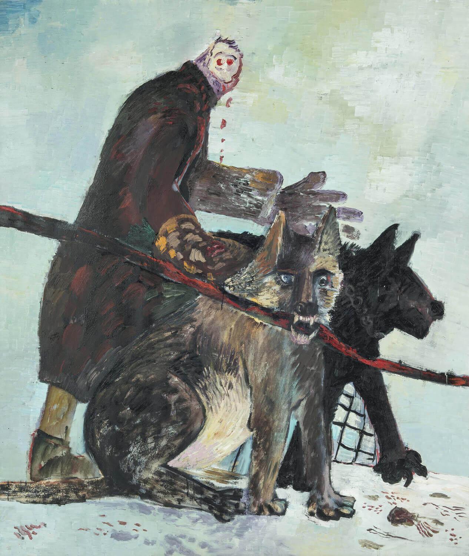 Ralf Kerbach, Hundefrau, 1986, Öl auf Leinwand, 210 x 180 cm
