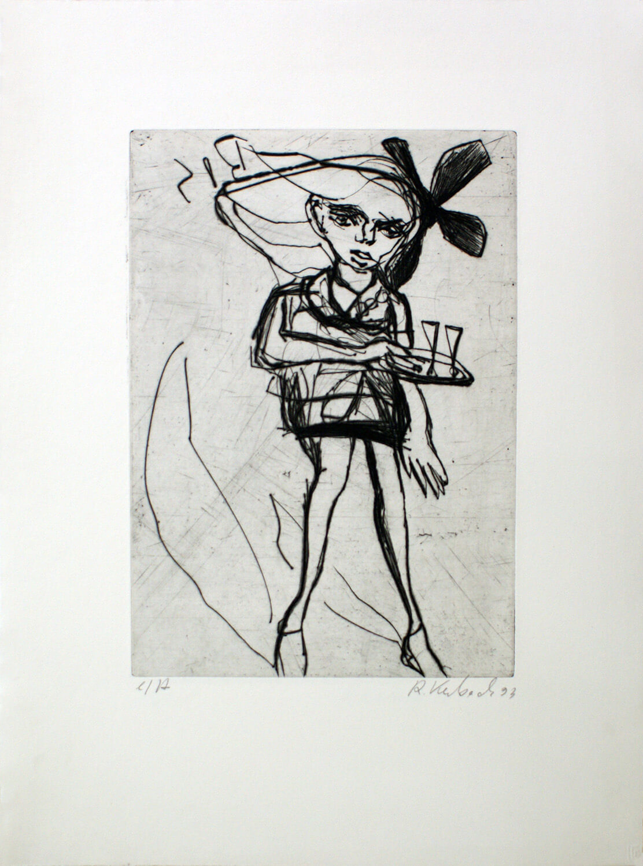 Ralf Kerbach, Kellnerin II, 1993, Radierung, e. a., Motiv: 28,2 x 19,8 cm, Blatt: 45 x 33,5 cm