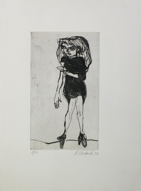 Ralf Kerbach, Kellnerin I, 1992, Radierung, e. a., Motiv: 27,4 x 16 cm, Blatt: 45,1 x 33,5 cm