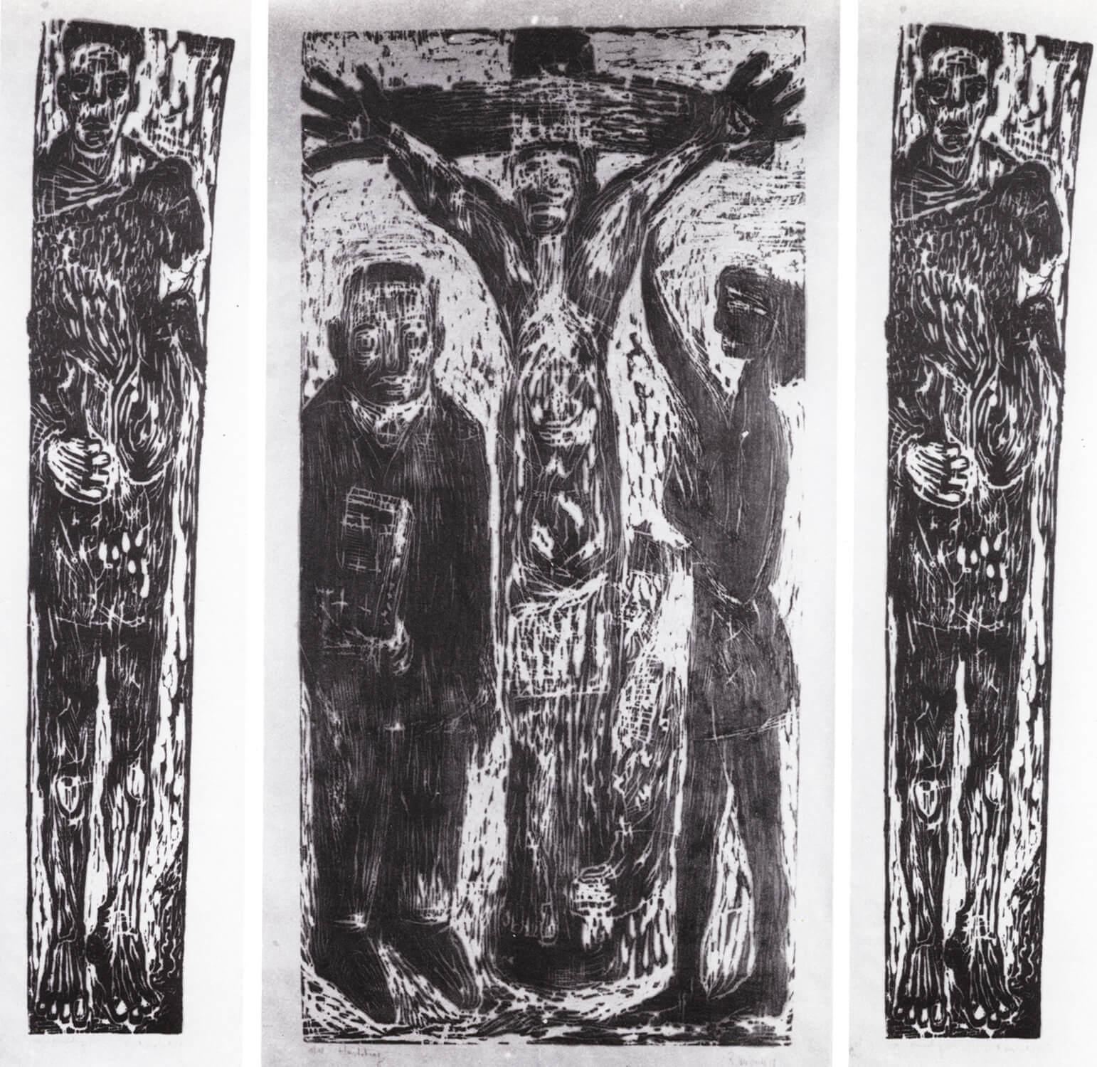 Ralf Kerbach, Kreuzigung (Triptychon), 1988, Holzschnitt, Auflage: 10, 210 x 180 cm