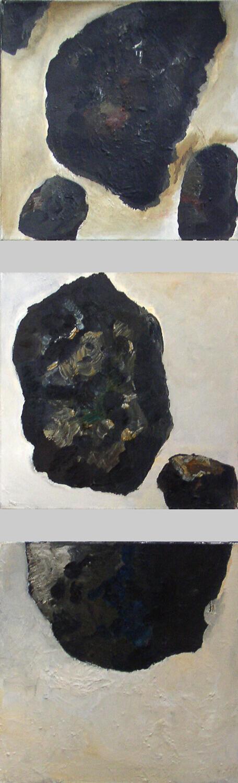 Ralf Kerbach, Lawine, 1990, Öl auf Leinwand, 150 x 50 cm