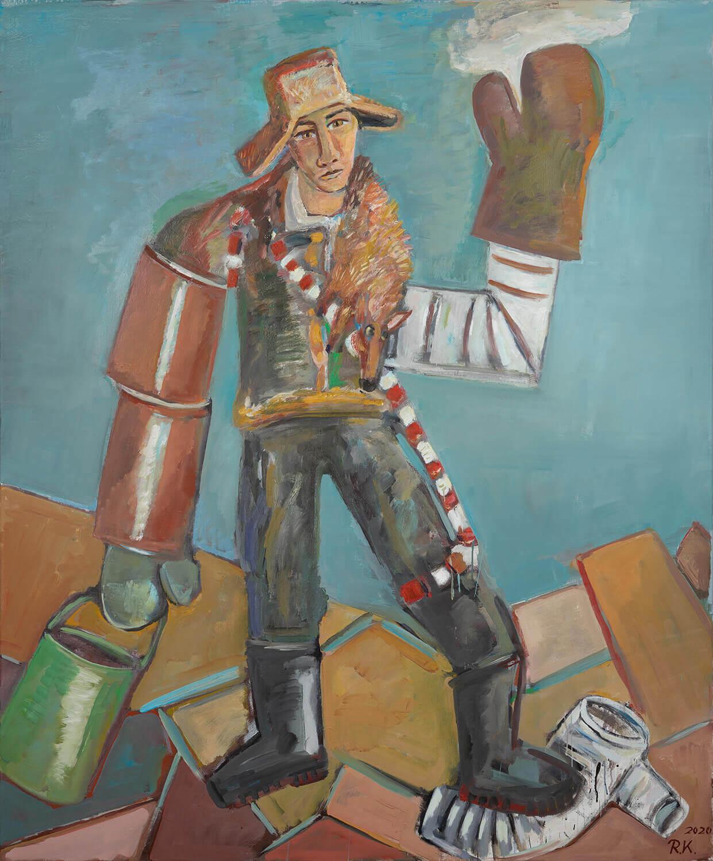 Ralf Kerbach, Rohrleger, 2019, Öl auf Leinwand, 176 x 145 cm
