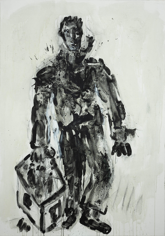 Ralf Kerbach, Schwarzarbeiter, 2020, Öl auf Leinwand, 170 x 120 cm