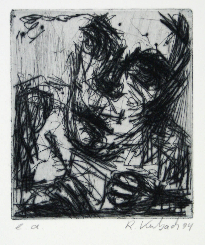 Ralf Kerbach, Selbst radierend, 1994, Radierung, e. a., Motiv: 8,5 x 7,3 cm, Blatt: 45,5 x 34,2 cm