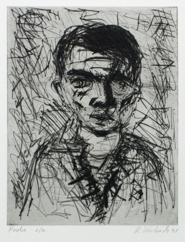 Ralf Kerbach, Selbst, 1991, Radierung, Probe e. a., Motiv: 22,8 x 17,8 cm, Blatt: 44,5 x 34,5 cm