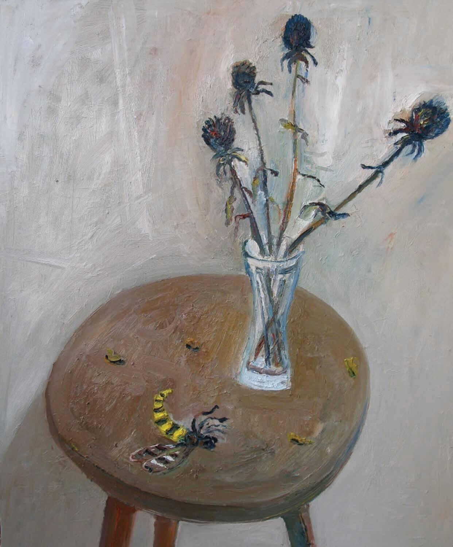 Ralf Kerbach, Stilleben mit Hornisse, 2008, Öl auf Leinwand, 120 x 100 cm