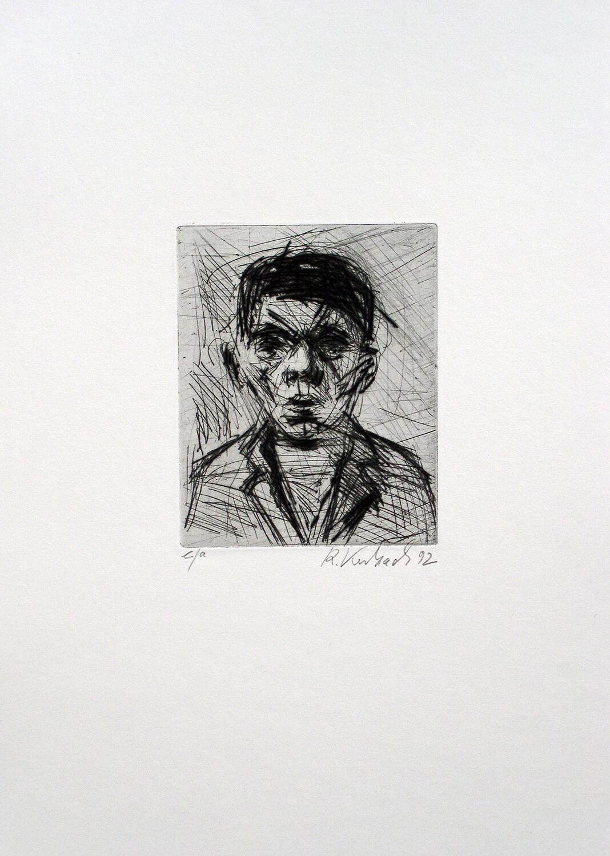 Ralf Kerbach, o. T. (Junge), 1991, Radierung, e. a., Motiv: 12 x 9,5 cm, Blatt: 33,5 x 27,2 cm