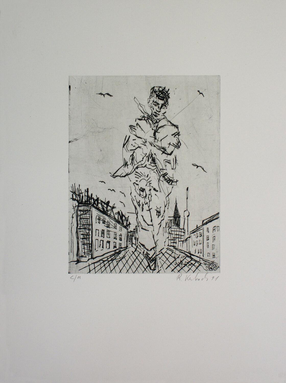 Ralf Kerbach, o. T. (Riese in der Stadt), 1991, Radierung, e. a., Motiv: 22,9 x 17,6 cm, Blatt: 45 x 43,5 cm