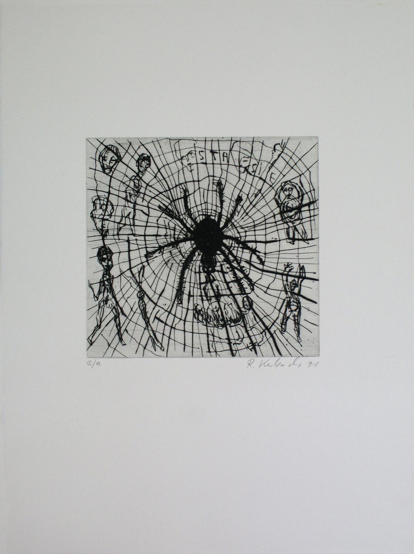 Ralf Kerbach, o. T. (Spinne im Netz), 1991, Radierung, e. a., Motiv: 17,7 x 18,8 cm, Blatt: 45 x 33,7 cm