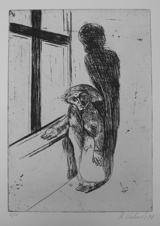 Ralf Kerbach, o. T. (Alte Frau), 1991, Radierung, e. a., Motiv: 32,7 x 23 cm, Blatt: 53,3 x 42 cm