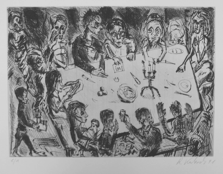 Ralf Kerbach, o. T. (Abendmahl), 1990, Radierung, e. a., Motiv: 23,7 x 32,6 cm, Blatt: 42 x 53,3 cm