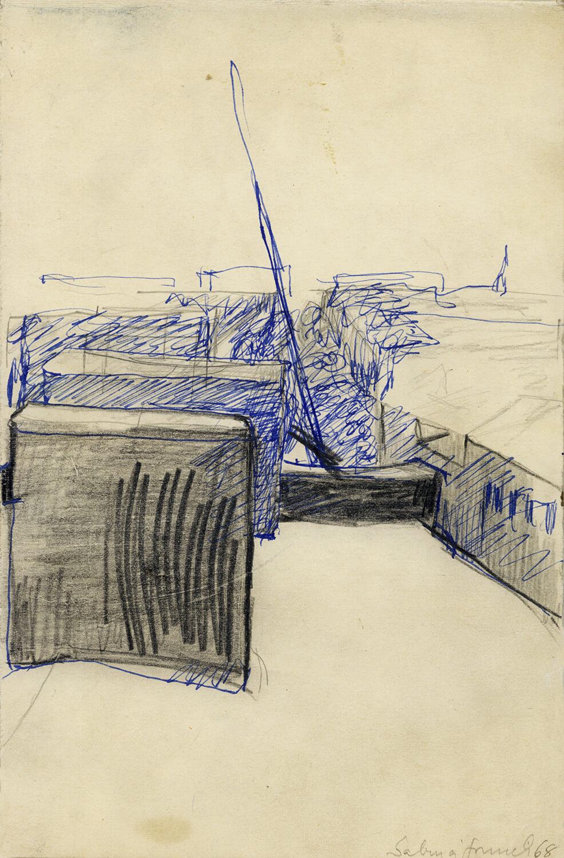 Sabina Grzimek, Blick in die Straße, 1968, Bleistift und Tinte auf Papier, 27,5 x 18 cm