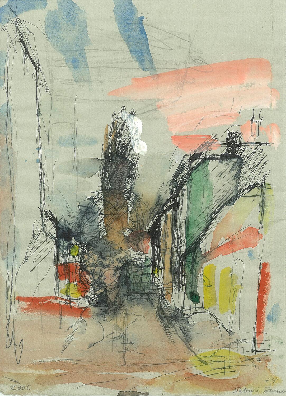 Sabina Grzimek, Die Pappel, 2006, Tinte, Aquarell und Bleistift auf Papier, 31 x 22 cm