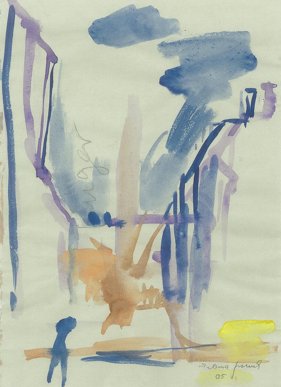 Sabina Grzimek, Pappelblick mit Figur, 2005, Aquarell auf Papier, 31 x 22 cm