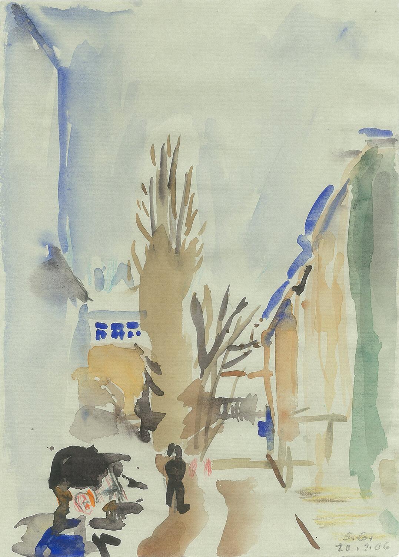 Sabina Grzimek, Pappelblick mit Fußgängern, 2006, Farbstift und Aquarell auf Papier, 31 x 22 cm