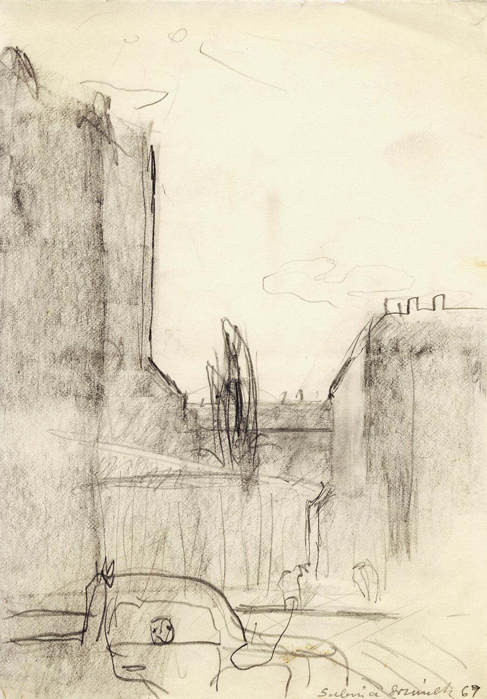 Sabina Grzimek, Pappelblick mit LKW und Fußgängern, 1969, Bleistift auf Papier, 24 x 17 cm