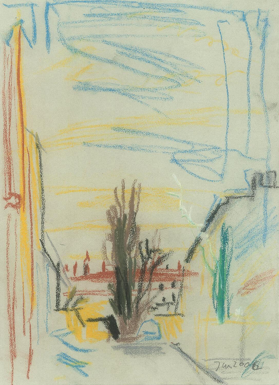 Sabina Grzimek, Pappelblick, 2006, Farbstifte auf Papier, 31 x 22 cm