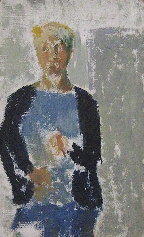 Sabina Grzimek, Selbst mit Blume, 1960, Öl auf grundierter Pappe, 30,3 x 18,5 cm
