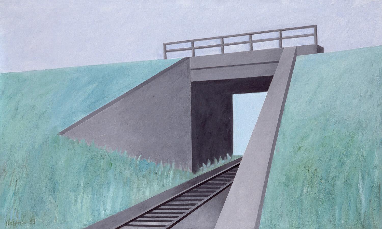 Sarah Haffner, An der Bahn - Frühling, 1998, Eitempera, Öl, Sand auf Nessel, 120 x 200 cm