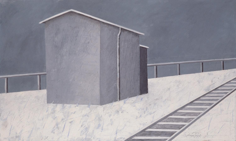 Sarah Haffner, An der Bahn - Winter, 1999, Eitempera, Öl, Kreide auf Nessel, 120 x 200