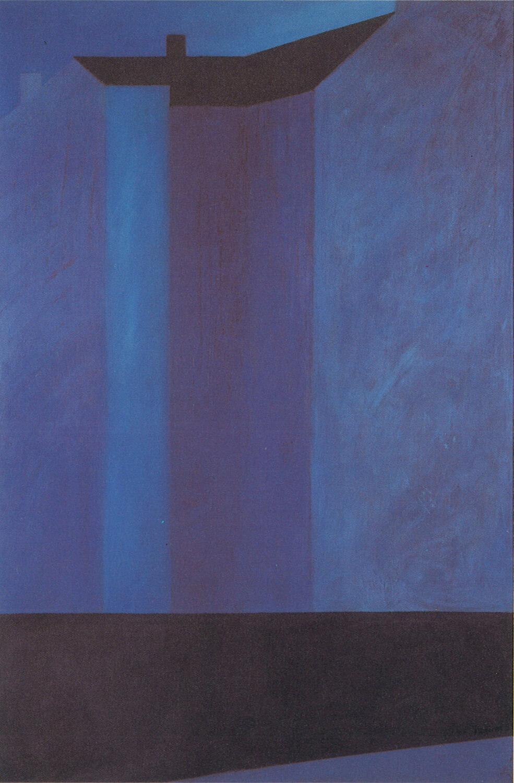 Sarah Haffner, Blaue Stunde, 1988, Eitempera und Öl auf Nessel, 150 x 100 cm