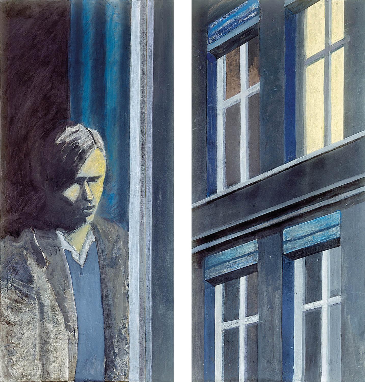Sarah Haffner, Christopher Isherwood in Berlin, 1930, 2007, Tempera, Pastell auf Baumwolle (Diptychon), je 185 x 85 cm