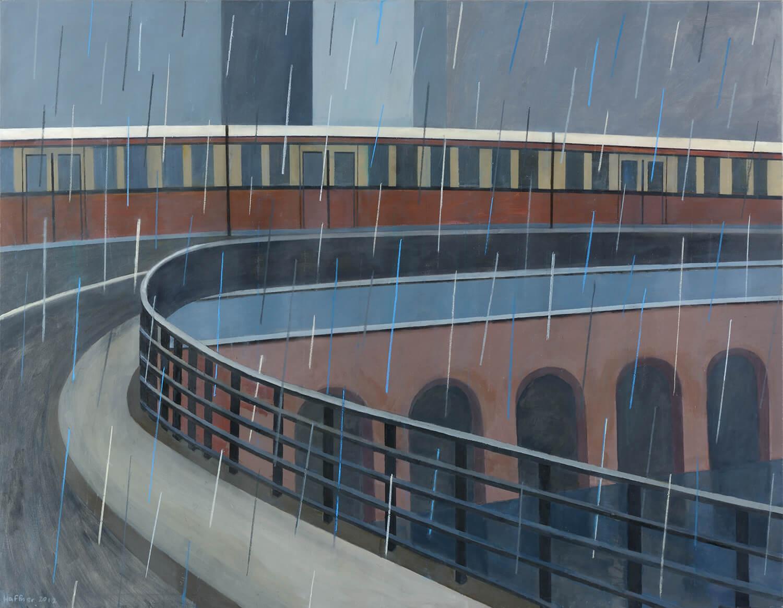 Sarah Haffner, S-Bahn im Regen, 2012, Tempera, Pastell auf Baumwolle, 145 x 190 cm