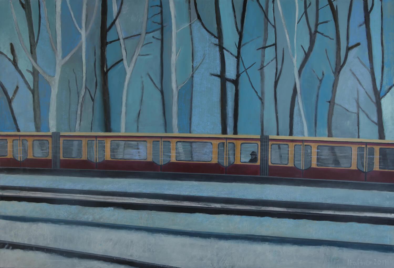 Sarah Haffner, S-Bahn im Schnee, 2012, Tempera, Pastell auf Baumwolle, 135 x 200 cm