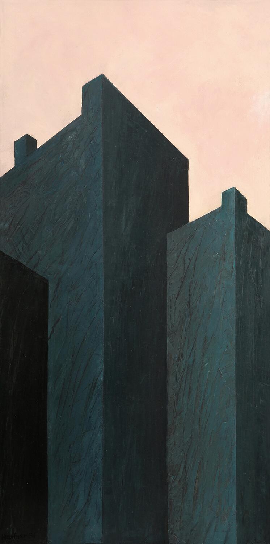 Sarah Haffner, Vorfrühling, 1991, Eitempera und Öl auf Nessel, 140 x 70 cm