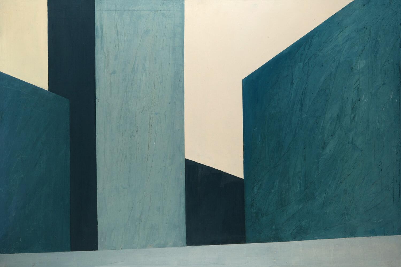Sarah Haffner, Wintersonne, 1990, Eitempera und Öl auf Nessel, 100 x 150 cm