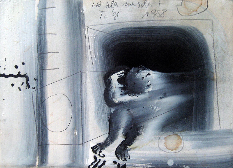 Thomas Lange, Höhlenmensch 7/III,1988, Mischtechnik auf Papier,30 x 42 cm