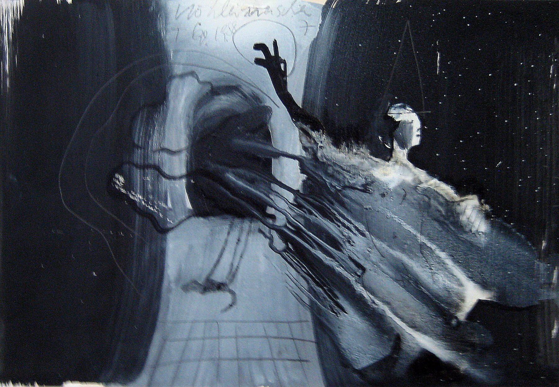 Thomas Lange, Höhlenmensch 7/II, 1988, Mischtechnik auf Papier, 29 x 42 cm