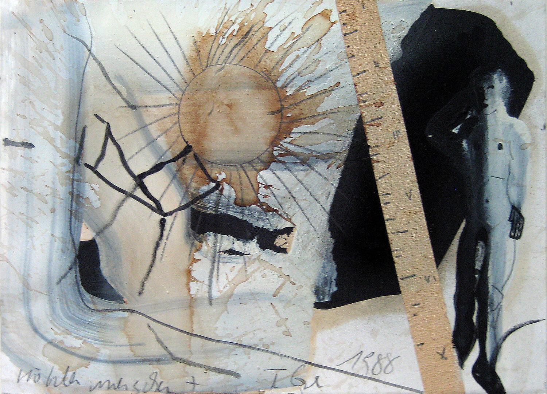Thomas Lange, Höhlenmensch 7/I, 1988, Mischtechnik auf Papier, 30 x 41,8 cm