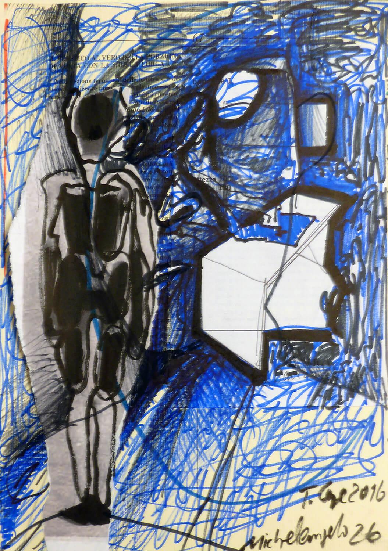 Thomas Lange, Michelangelo 26, 2016, Mischtechnik auf Papier, 32,7 x 23,4 cm