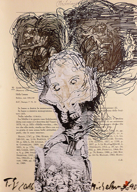 Thomas Lange, Michelangelo 90, 2016, Mischtechnik auf Papier, 32,7 x 23,4 cm