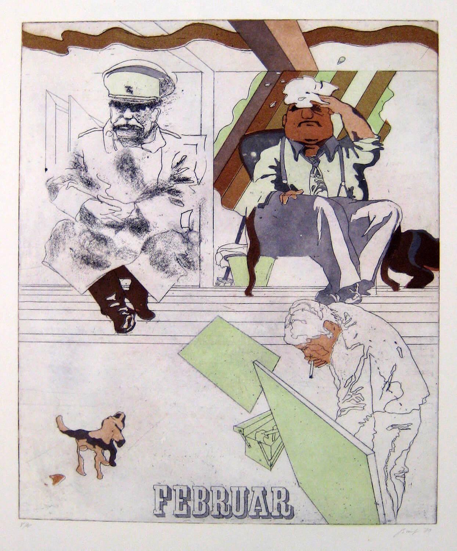 Ulrich Baehr, Ein Jahr aus dem Leben Stalins, April, 1970, Farbradierung, Auflage: 10, 76 x 54 cm, Mappe mit 6 Motiven