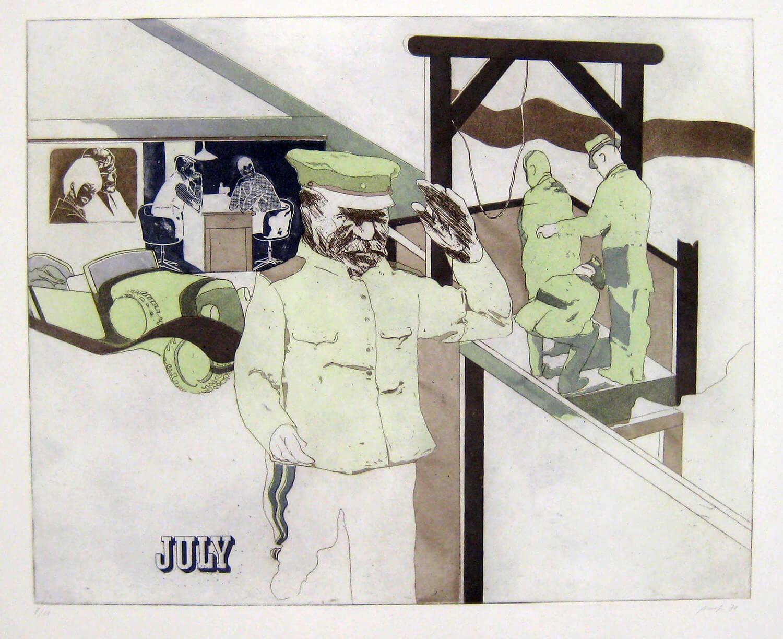 Ulrich Baehr, Ein Jahr aus dem Leben Stalins, July, 1970, Farbradierung, Auflage: 10, 54 x 76 cm, Mappe mit 6 Motiven