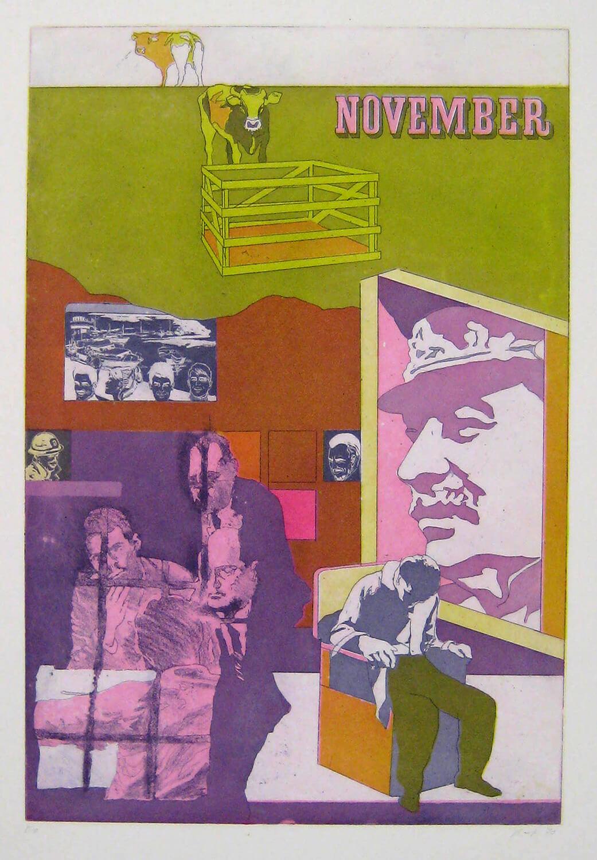Ulrich Baehr, Ein Jahr aus dem Leben Stalins, November, 1970, Farbradierung, Auflage: 10, 76 x 54 cm, Mappe mit 6 Motiven